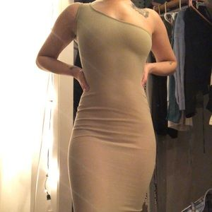 Sage green ribbed one shoulder bodycon dress